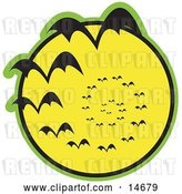 Vector Clip Art of Retro Continuous Vortex Spiral of Vampire Bats Flying in Silhouette Against a Bright Full Yellow Moon and Slowly Disappearing in the Distance Clipart Illustration by Andy Nortnik