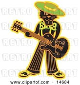 Vector Clip Art of Retro Cool Black Cat Playing a Guitar Clipart Illustration by Andy Nortnik