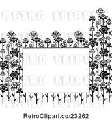 Vector Clip Art of Retro Copyspace Framed with Flower Stalks by Prawny Vintage