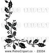 Vector Clip Art of Retro Corner Border of Christmas Holly Sprigs by Prawny Vintage