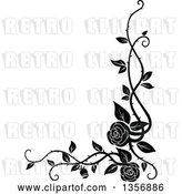 Vector Clip Art of Retro Corner Floral Rose Vine Border Design Element by Vector Tradition SM