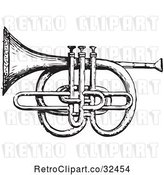 Vector Clip Art of Retro Cornet and Pistons in by Picsburg