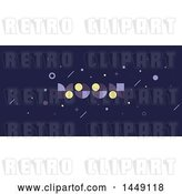 Vector Clip Art of Retro Cosmic Design with Moon Text by Elena