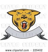 Vector Clip Art of Retro Cougar Head and Blank Banner Logo by Patrimonio