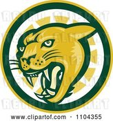Vector Clip Art of Retro Cougar Hissing over a Green Yellow and White Circle by Patrimonio
