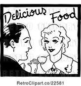 Vector Clip Art of Retro Couple and Delicious Food Service Sign by BestVector