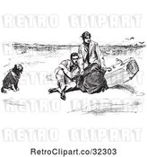Vector Clip Art of Retro Couple and Dog on a Beach in by Picsburg