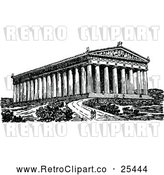 Vector Clip Art of Retro Couple at the Parthenon by Prawny Vintage