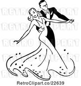 Vector Clip Art of Retro Couple Ballroom Dancing 2 by BestVector
