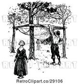 Vector Clip Art of Retro Couple Building a Shelter by Prawny Vintage