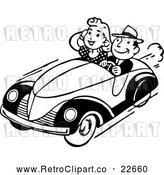 Vector Clip Art of Retro Couple Cruising by BestVector