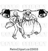 Vector Clip Art of Retro Couple Dancing Under Bells by Prawny Vintage