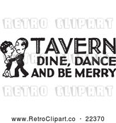 Vector Clip Art of Retro Couple Dancing with Tavern Dine Dance and Be Merry Text by BestVector