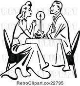 Vector Clip Art of Retro Couple Dining by Candle Light by Prawny Vintage