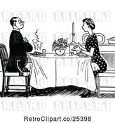 Vector Clip Art of Retro Couple Dining by Prawny Vintage
