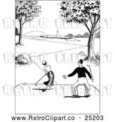 Vector Clip Art of Retro Couple Golfing by Prawny Vintage