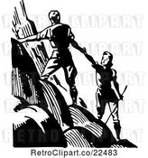 Vector Clip Art of Retro Couple Hiking up a Mountain by BestVector