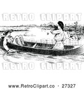 Vector Clip Art of Retro Couple in a Boat by Prawny Vintage