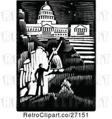 Vector Clip Art of Retro Couple Iwth Aspirations and a Capitol Building by Prawny Vintage