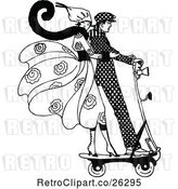 Vector Clip Art of Retro Couple on a Scooter by Prawny Vintage