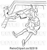 Vector Clip Art of Retro Couple Reading and Knitting on Their Floor by Picsburg