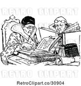 Vector Clip Art of Retro Couple Reading Books by Prawny Vintage