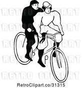 Vector Clip Art of Retro Couple Riding a Tandem Bicycle by Prawny Vintage