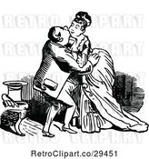 Vector Clip Art of Retro Couple Smooching by Prawny Vintage