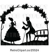 Vector Clip Art of Retro Couple Talking by a Bench by Prawny Vintage
