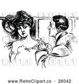 Vector Clip Art of Retro Couple Talking by Prawny Vintage