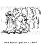 Vector Clip Art of Retro Couple Tending to an Injured Horse by Prawny Vintage
