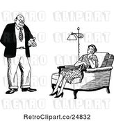 Vector Clip Art of Retro Couple, the Wife Unimpressed by Prawny Vintage