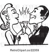 Vector Clip Art of Retro Couple Toasting by BestVector