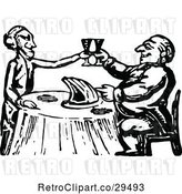 Vector Clip Art of Retro Couple Toasting over a Ham by Prawny Vintage