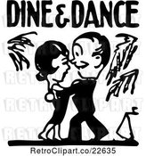 Vector Clip Art of Retro Couple Under Dine and Dance Text by BestVector