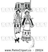 Vector Clip Art of Retro Couple Walking with a Dog by Prawny Vintage