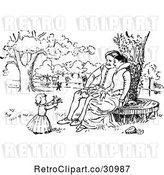 Vector Clip Art of Retro Couple Watching Their Girl Pick Flowers in a Park by Prawny Vintage