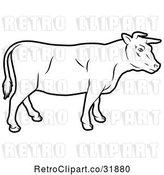 Vector Clip Art of Retro Cow in Profile by AtStockIllustration