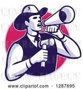 Vector Clip Art of Retro Cowboy Auctioneer Holding a Gavel and Shouting in a Bullhorn Megaphone, in a Purple and Pink Circle by Patrimonio