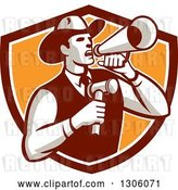 Vector Clip Art of Retro Cowboy Auctioneer Using a Megaphone and Holding a Gavel in a Brown White and Orange Shield by Patrimonio