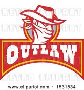 Vector Clip Art of Retro Cowboy Bandit Wearing a Bandana over His Face Above an Outlaw Banner by Patrimonio