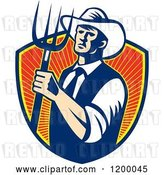 Vector Clip Art of Retro Cowboy Farmer Holding a Pitchfork over a Shield of Rays by Patrimonio
