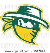 Vector Clip Art of Retro Cowboy in Profile in White, Green and Yellow by Patrimonio
