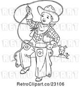 Vector Clip Art of Retro Cowboy Kid Swinging a Lariat by Prawny Vintage