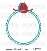Vector Clip Art of Retro Cowboy Lasso and Hat in a Circle by Andy Nortnik