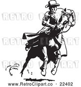 Vector Clip Art of Retro Cowboy Looking Back on a Running Horse by BestVector