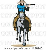 Vector Clip Art of Retro Cowboy Shooting on Horseback by Patrimonio