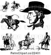 Vector Clip Art of Retro Cowboys Horses and a Couple by BestVector
