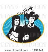 Vector Clip Art of Retro Cowgirl and Cowboy Holding a Tv Antennae in an Oval of Sunshine by Patrimonio