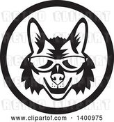 Vector Clip Art of Retro Coyote Face Wearing Sunglasses in a Circle by Patrimonio